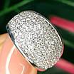Серебряное кольцо с фианитами усыпка - Женское серебряное кольцо усыпанное камнями, фото 4