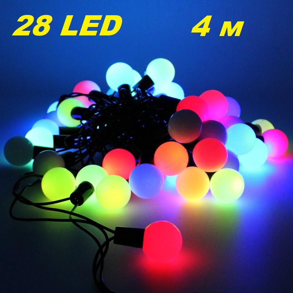 """Новогодняя гирлянда нить """"Шарики"""" Xmas 28 LED ламп мультиколор  на черном проводе 4 метра"""