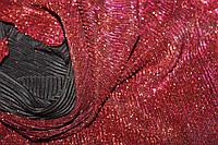 Трикотаж стрейчовий, червоний, не осипається, гофрирований паралельно ширині 1,32 м, фото 1