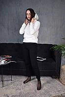 Женский утепленный спортивный костюм с капюшоном бело-черный, фото 1