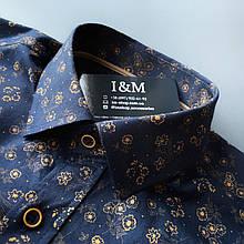 Мужская рубашка I&M Craft темно-синяя с принтом (110100)