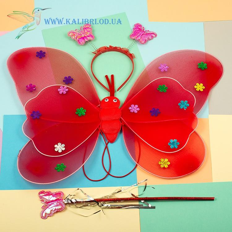 Набор карнавальный крылья феи красные