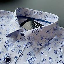 Мужская рубашка I&M Craft белая с темно-синим узором (110101)