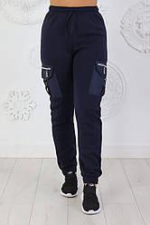 Женские теплые брюки из трикотажа тринитка с накладными карманами Карго из плащевки размеры 42-56