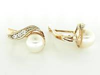 Серьги золотые с жемчугом и фианитом 1200000061