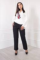 Женский брючный костюм из креп костюмки, кофта с вышивкой на запах с поясом и клешным рукавом  (48-54)