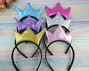 Обручи для волос Корона голограмма 12 шт/уп.