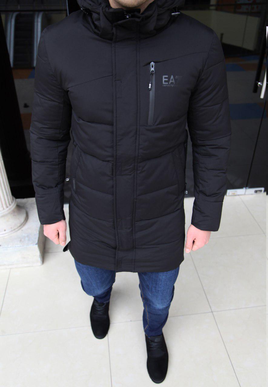Куртка мужская Emporio Armani H0166 черная длинная