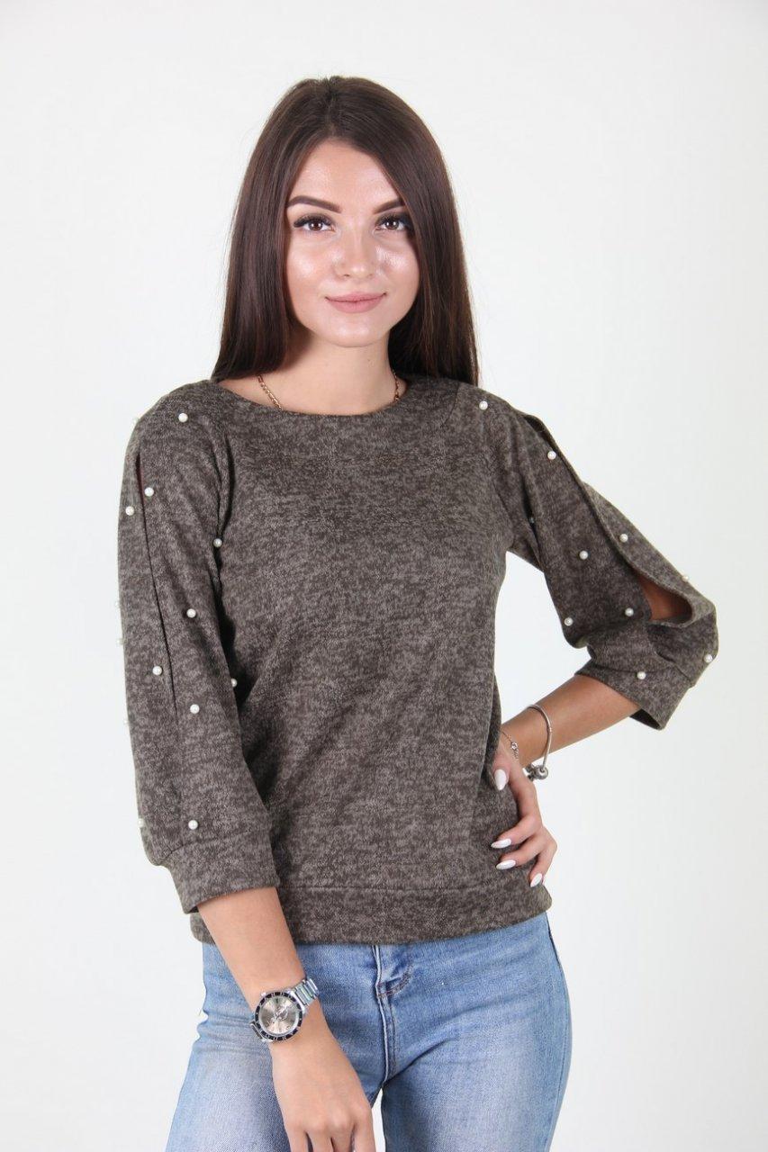 Модный молодежный свитер с бусинами