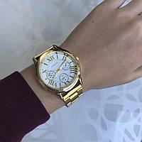 Женские наручные часы металлические Geneva римские цифры золотистые
