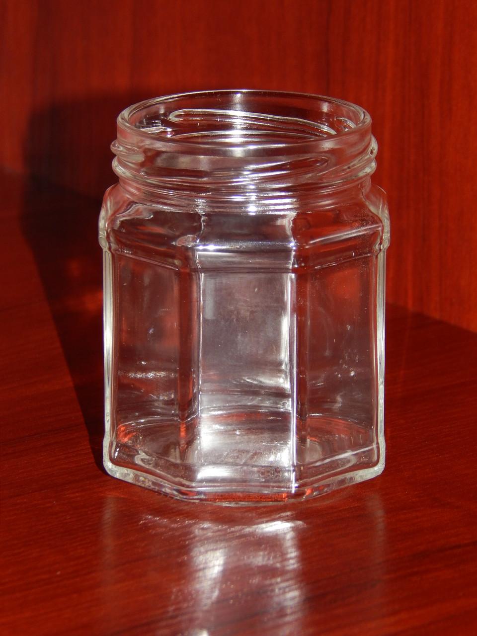 Банка стеклянная 229 мл с горловиной твист 63 мм восьмигранная (20 штук в упаковке) - фото 1