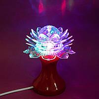 🔝Настільний світильник світлодіодний, Лотос, RHD-21, Червоний, дитячий 3Д нічник в розетку, обертовий   🎁%🚚