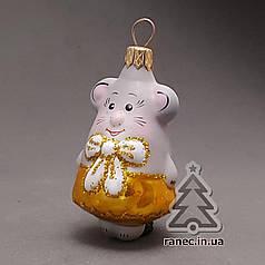 Стеклянная елочная игрушка Мышка девочка и мальчик 107/м