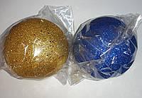 """Елочная игрушка """"Шар цветной большой с блестками"""" (диаметр 15 см), фото 1"""