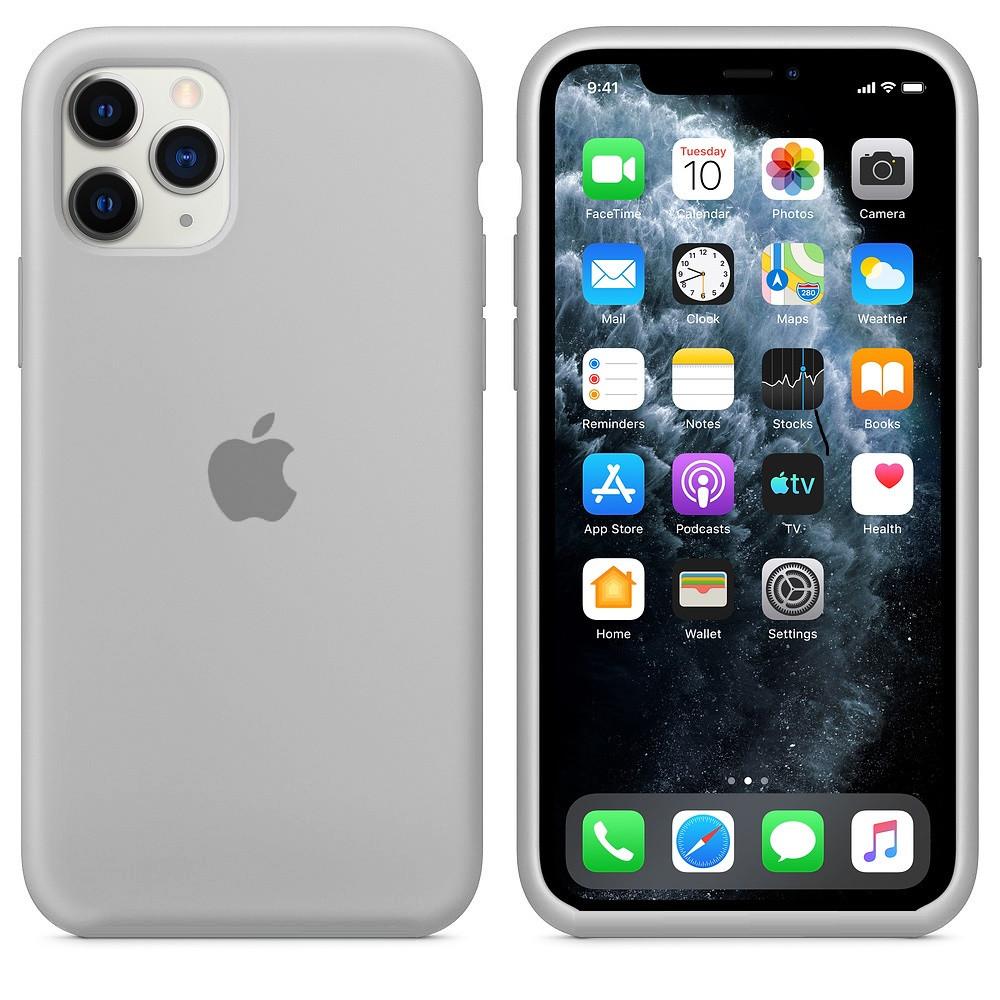 Apple / Чехол накладка xCase для iPhone 11 Pro Max Silicone Case  светло серый