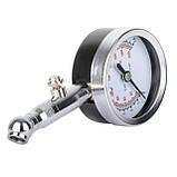 Измеритель давления в шинах стрелочный, металлический корпус, клапан сброса давления INTERTOOL AT-1004, фото 2