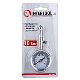 Измеритель давления в шинах стрелочный, металлический корпус, клапан сброса давления INTERTOOL AT-1004, фото 6
