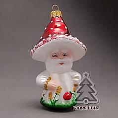 Стеклянная елочная игрушка Дедушка гриб-лесовик 382/с