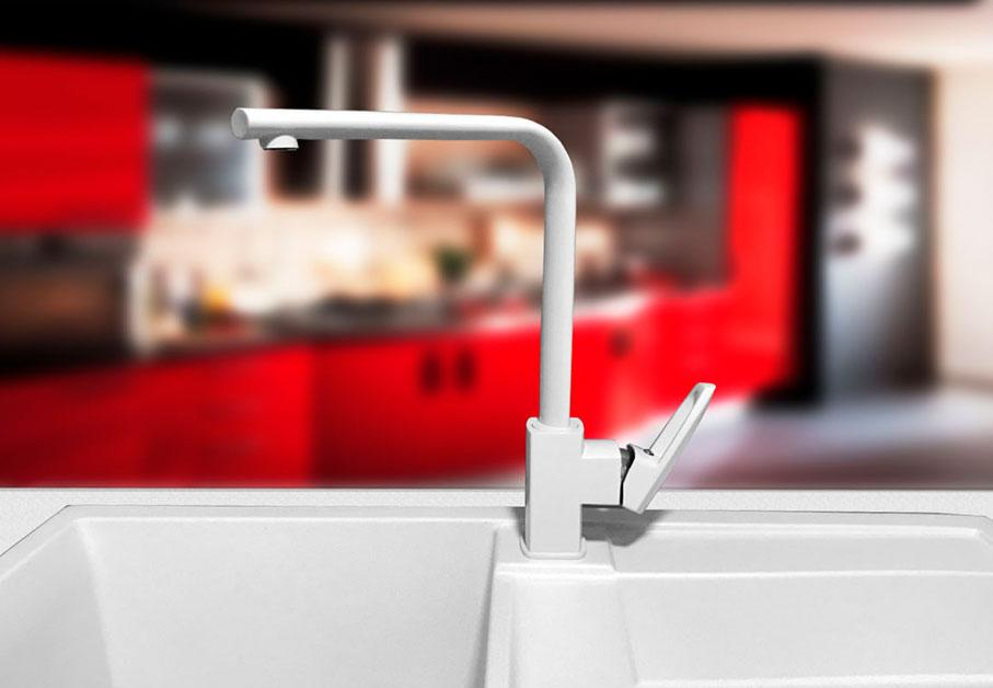 Смеситель кухонный гранитный KAHER SABIN 06 белый