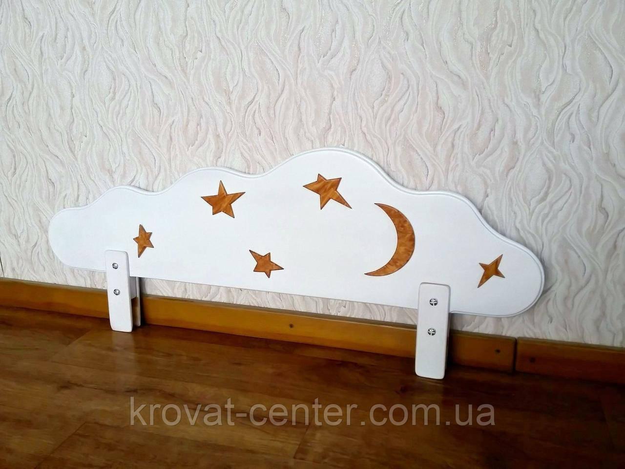 """Білий захисний бортик для дитячого ліжечка """"Хмара"""" з аплікацією 100 див."""