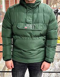 Зимняя мужская куртка анорак с капюшоном зеленая теплая Турция. Живое фото