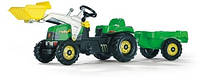 Трактор Kid с прицепом и ковшом зеленый