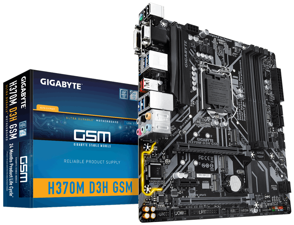 Материнская плата Gigabyte H370M D3H GSM (s1151/H370/MicroATX)