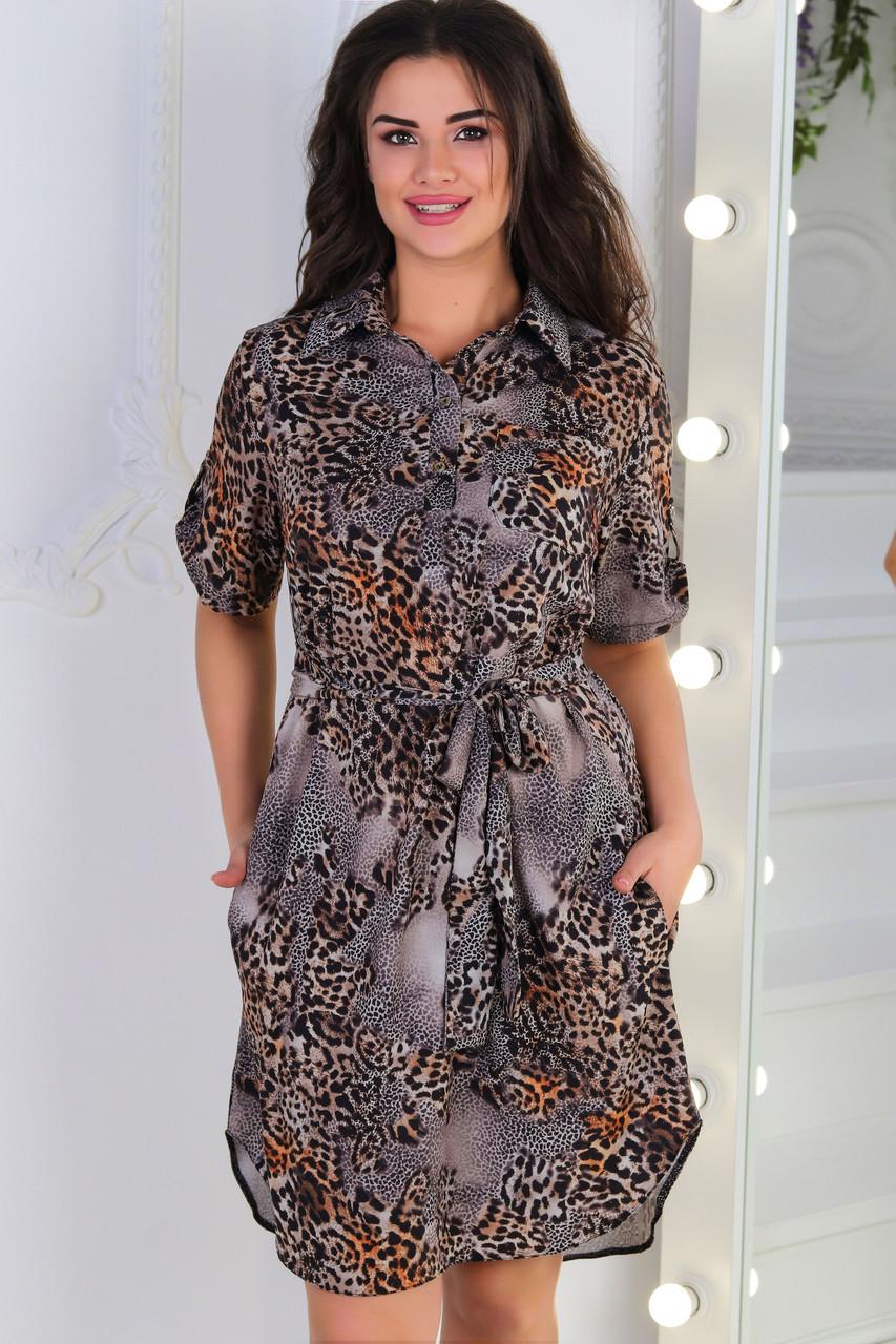 Платье- рубашка 285  коричневое в принт