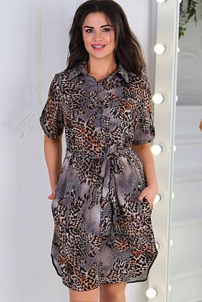 Платье- рубашка 285  коричневое в принт, фото 2