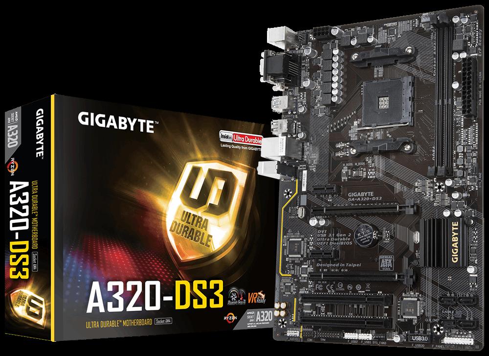 Материнская плата Gigabyte GA-A320-DS3 (AM4/A320/DDR4)