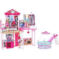 Большой двухэтажный дом для Барби с 4 комнатами и бассейном + 3 куклы Barbie Dreamhouse Complete Home Set House with 3 Dolls and Pool FCK15