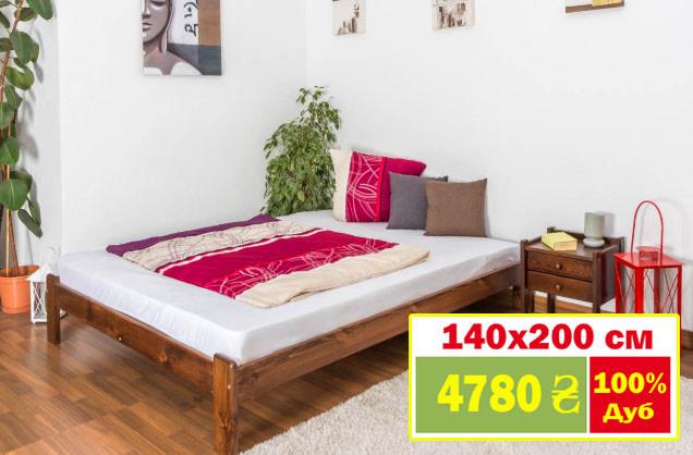 Кровать двуспальная односпальная деревянная 140х200 Массив дуба Ліжко