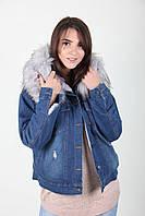 Укороченная джинсовая куртка зимняя с искуственым мехом