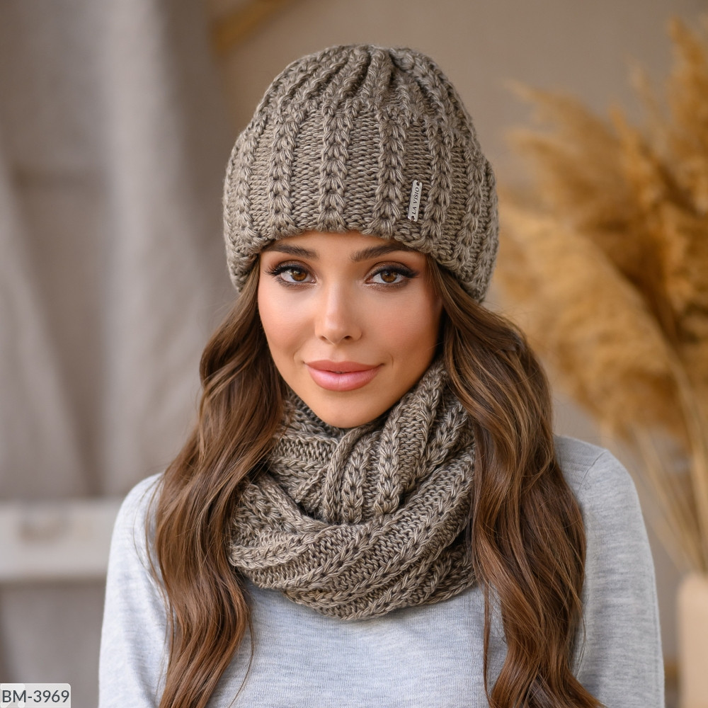 Комплект набор шапка + шарф снуд зимний на флисе много цветов Новинка