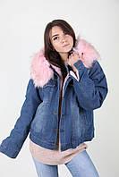 Молодежная зимняя куртка из джинса с мехом
