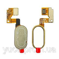 Шлейф для MEIZU M3 Note (L681H) (14pin) с бело-золотистой кнопкой HOME (сенсорная)