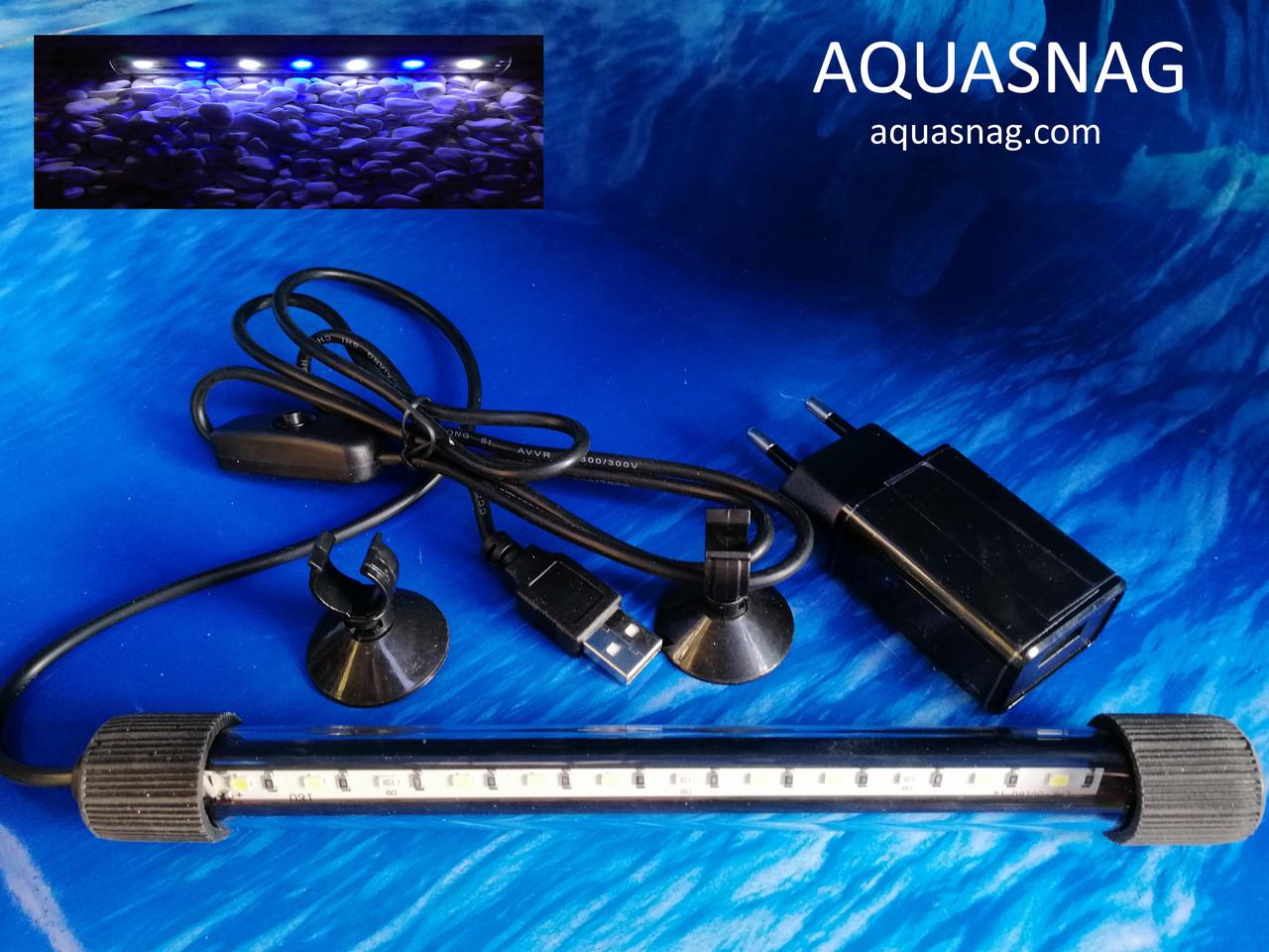 Подводная светодиодная  лампа 20 LED, голубая с белым