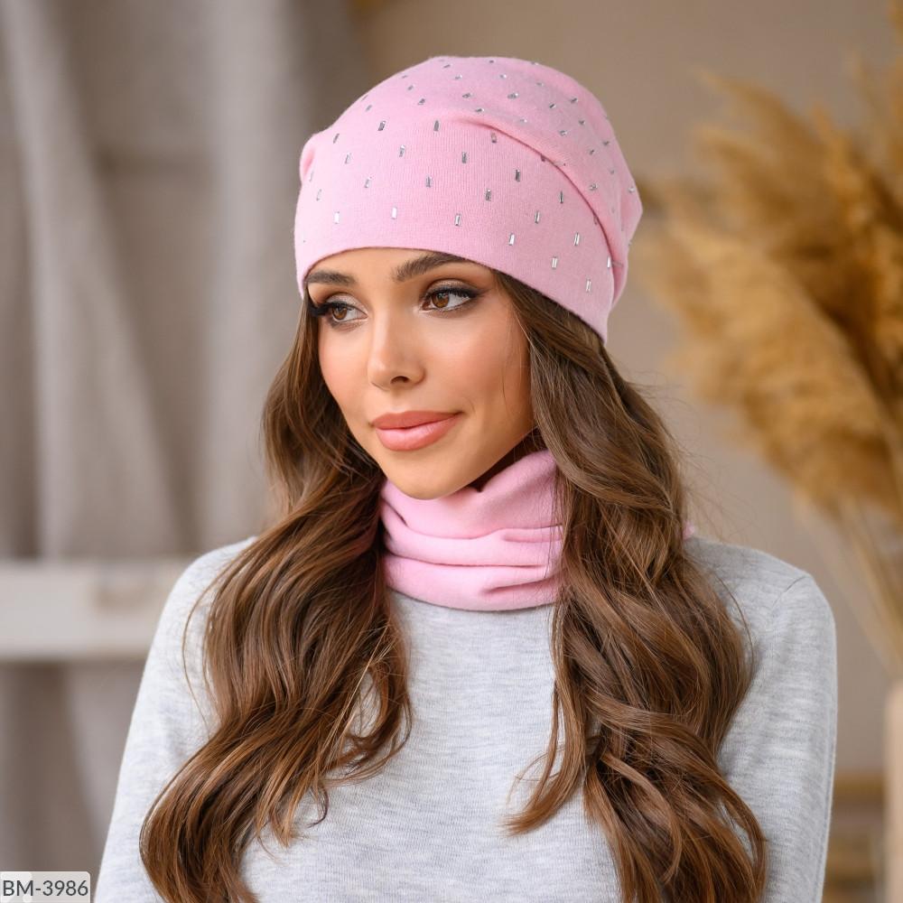 Комплект набор шапка + шарф баф вязка зимний много цветов Новинка