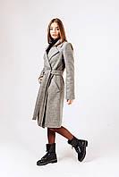Демисезонное  пальто из серой шерстиД 378