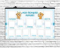 Плакат 12 місяців Медвежонок мальчик 75х120 см (укр)