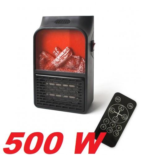 Портативный обогреватель | дуйка с LCD дисплеем и имитацией камина+пульт 500 Вт FLAME HEATER