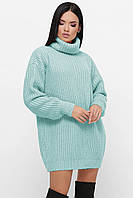 Стильный женский мятный свитер-туника, фото 1