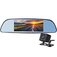 """☛Зеркало видеорегистратор 7"""" Lesko H803 + камера заднего вида TF card Full HD видео ночная съемка"""