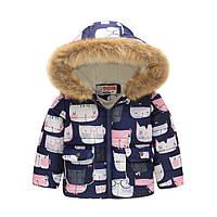 Демисезонная куртка для девочки Белый кот в очках Jomake