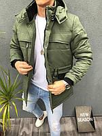 Мужская зимняя куртка модная городская с капюшоном олива