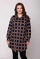 Женская рубашка туника байковая в клетку большого размера 54-60 темно-синяя