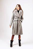 Зимнее пальто с песцовой шальюД 378