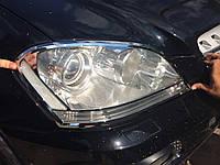 Mercedes ML klass W164 Хром накладки на фары (2 шт, пласт)