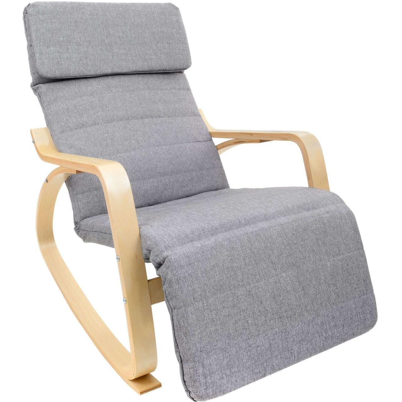 Крісло качалка Vecotti Oskar для відпочинку з підставкою для ніг сірий