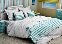 Комплект постельного белья евро размера GLux морская тематика